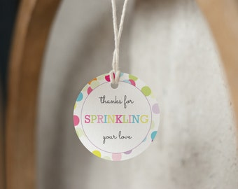 Baby Sprinkle, Baby Shower Favor Tags, Sprinkle, Sprinkled With Love, Thank You Tags, Favor Tag, Printable Baby Shower Tag, INSTANT DOWNLOAD