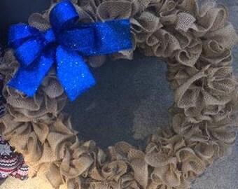 Burlap Ruffle Wreath, Ruffle Wreath, Burlap Wreath