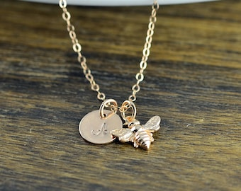Rose Gold Bee Necklace, Initial Necklace Rose Gold, Initial Bee Necklace, Rose Gold Bee Necklace, Bumble Bee Necklace, Honeybee Bee Jewelry