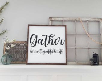 Gather Sign Wood Dining Room Wall Art Rustic