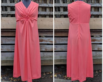 Vintage late 1960's or 70's coral empire waist sleeveless 100% fortrel polyester maxi dress