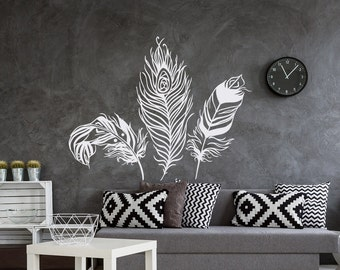 Feather Wall Decal- Feather Wall Decor- Feathers Vinyl Wall Decal- Forest Wall Decal Tribal Boho Bohemian Bedroom Decor Feather Wall Art #18