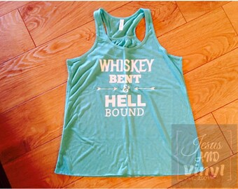 Womens Bella & Canvas Racer back flowy tanks | whiskey bent | remain humble | design your own