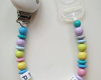 Colorful pacifier clip-white