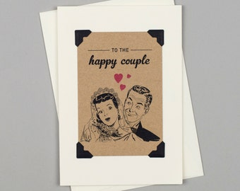 """Handmade Wedding Card """"To The Happy Couple"""" in Vintage Style with 1950's Style Illustration"""