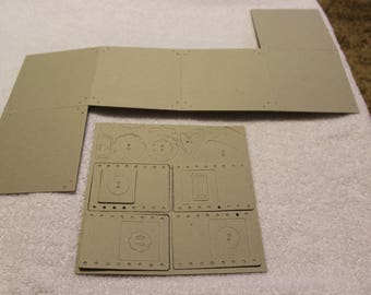 """Free Shipping!!  Chipboard Album - 6 pages - 5"""" x 5"""" AND 4 pages - 2 5/8"""" x 3 3/4"""" + Buttons, etc.  New in Package - SNSC"""