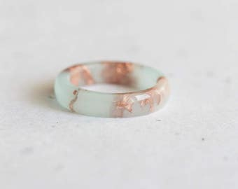 Pastel Mint Resin Ring Rose Gold Flakes Small Smooth Ring OOAK size 7 pastel mint peach minimalist jewelry minimal chic