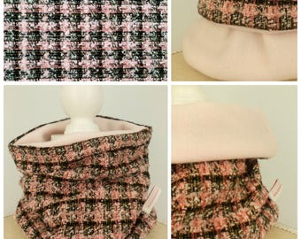 Snood reversible hot pink and black Plaid baby (less than 2 years) - neck warmer