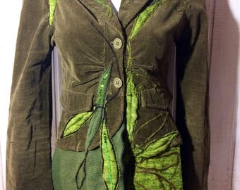 Blazer, up cycled clothing, refashioned up frock vintage medieval jacket with green leaf, quilted and beaded, magical, Recon