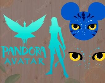 Pandora Svg, Avatar Pandora cutfiles, Pandora world svg, dxf, eps files. Pandora clipart, pandora avatar t shirt, pandora mouse head svg