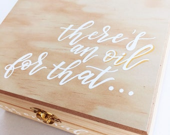Essential Oil Box | Wooden Essential Oil Box | Customized Gift | Essential Oil Storage | Hand Painted | Natural Wood Box