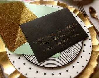 Great Gatsby Inspired Black and Gold Wedding Calligraphy Envelope Addressing with Gold Ink on Black Envelope Gold Glitter Envelope Liners