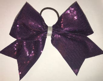 Purple Sequined Cheerleading Bow