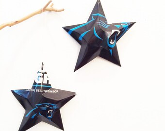 Bud Light Carolina Panthers Beer Stars Christmas Ornaments Aluminum Can Upcycled Budweiser