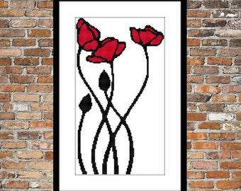 Wavy Poppies - Counted Cross Stitch Pattern
