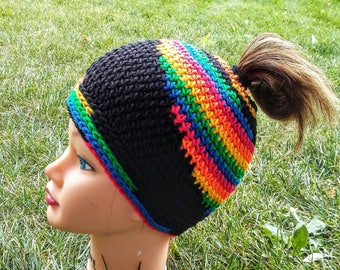 Messy Bun Hat, Ready To Ship, Rainbow and Black Ponytail Beanie