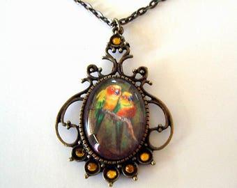 Sun Conures Parrot Bird Jewelry Necklace Antique Bronze Brass Jungle Art Glass