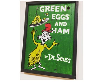 Dr. Seuss Green Eggs and Ham children's book cover hand-painted on reclaimed pallet wood, wood sign, nursery, childrens room