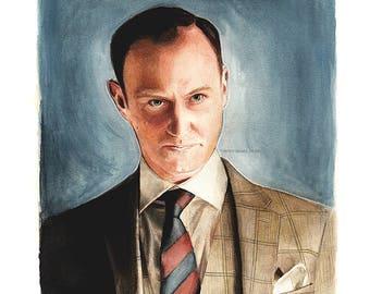 "Mycroft Holmes ""The Empty Hearse"" (BBC Sherlock) Watercolour Art Print"