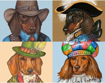 Doxie Party - 4 Art Prints - Texas Ranger, Chevalier, Dandy and Colombina - Pet Portraits by Maria Pishvanova