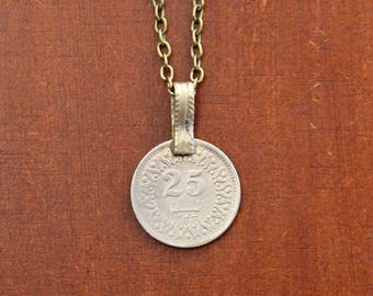 Vintage Coin Necklace - Tribal Coin Pendant with Brass Chain, Moon and Star Amulet, Boho Unisex Men's Necklace for Protection