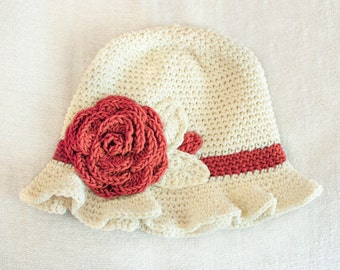 12 to 24m Crochet Sun Hat Baby Hat in Cream and Coral Red - Crochet Rose Flower Hat Cloche Hat Baby Girl Baby Flapper Girl Photo Prop