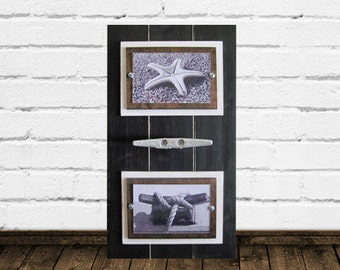 Double Black Plank Frame with Nautical Boat Cleat