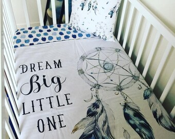 Dream Big Little One Dream Catcher - Cot / Crib Blanket - Minky Backed