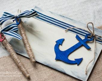 Nautical Wedding Guest Book, Anchor Wedding Guestbook, Anchor Guest Book Pen Holder, Rustic Guest Book Alternative, Navy Ivory Wedding Pen