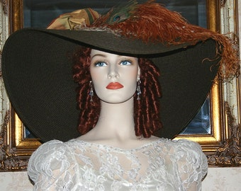 "Brown Kentucky Derby Hat, Ascot Hat, Edwardian Hat, Titanic Hat, 24"" Wide Brim - Triple Crown"