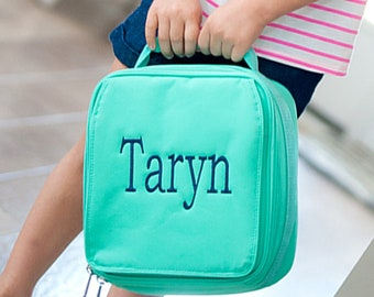 Mint Girls Monogrammed Lunch Box, Monogram Lunch Bag, Back to School