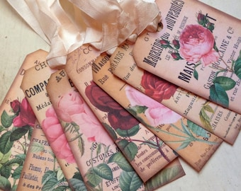Gift Tags French Rose Advertisement Tags French Style Vintage Roses French Decor Shabby Chic Decor Gift Wrap Embellishment Set of 8
