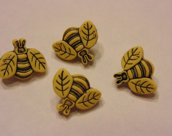 4 tiny bumble bees, 11 x 10 mm (18)
