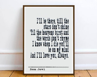 Bon jovi art etsy bon jovi quote wall art print gift inspiration motivation inspiration stopboris Choice Image