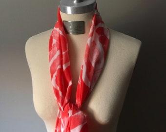 "Silk Skinny Scarf, Custom Colors, Hand Painted ""Zigzag"" Pattern"