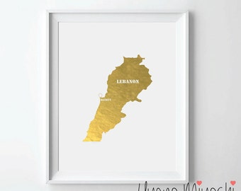 Lebanon Map Gold Foil Print, Gold Print, Map Custom Print in Gold, Illustration Art Print, Map of Lebanon Gold Foil Art Print
