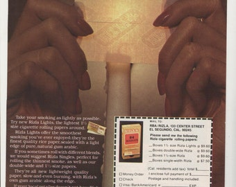 1981 Advertisement Rizla Cigarette Papers Rolling Thin Candle Light Smoking Weed Roll Your Own Tobacco 70s Drugs Marijuana Wall Art Decor