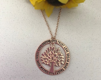 Circle Tree of Life Pendant in Rose Gold - Ladies