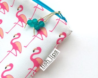 Flamingo Wet Bag, Summer Love Bikini Bag, Water Resistant Zipper Pouch, Recycled Canvas Beach Bag, Wipe-able Handmade Gift for Her, Mess Bag