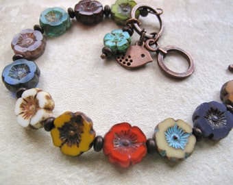 Colorful Flower Bracelet, shabby chic bracelet, casual bracelet, boho chic, hippie jewelry, rustic boho, rustic bracelet, bohemian jewelry