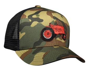 Red Tractor Baseball Cap - Camouflage Trucker Hat