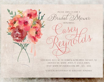 Coral Bridal Shower invitation Mason Jar - Shabby Chic bridal shower, cottage chic bridal shower, country bridal shower, floral invitation