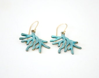Coral Jewelry - Turquoise Patina Brass Drop Earrings - Minimal Beach Jewelry
