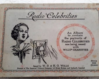 Cigarette trading cards, W. D. & H. H Wills, Radio Celebrities, trading cards from the 1930s, collectibable ephemera, tobacciana.