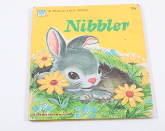 Tell a Tale Nibbler Bunny Whiteman 1960's - Picture Book - Cute Rabbit Pictures!