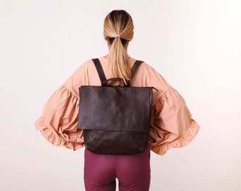 Leather Backpack Woman, Laptop Backpack Bag, Messenger Backpack, Laptop Messenger Bag, Zipper Backpack, Leather  Messenger Bag, Handmade Bag
