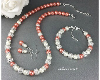 Bridesmaid Gift Coral Jewelry Coral Bracelet Bridesmaid Jewelry Set Coral Necklace Maid of Honor Gift Wedding Jewelry