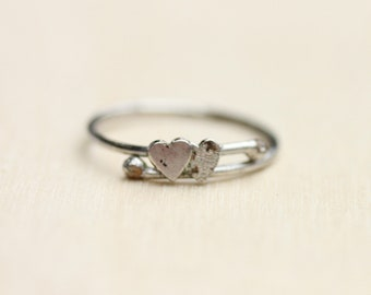 Silver Heart Ring, Silver Bypass Ring, Heart Ring