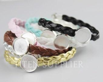 10pcs Silver / Antique bronze 12MM bracelet Settings Base Trays - 12mm Bracelet Bezel Blanks Shallow - 12mm Bracelet Blank