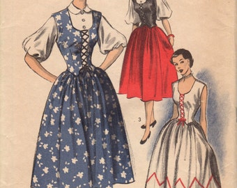 Bust 30-FACTORY FOLDED 1940's Misses' Skirt, Jerkin and Blouse Advance 5753 Size 12